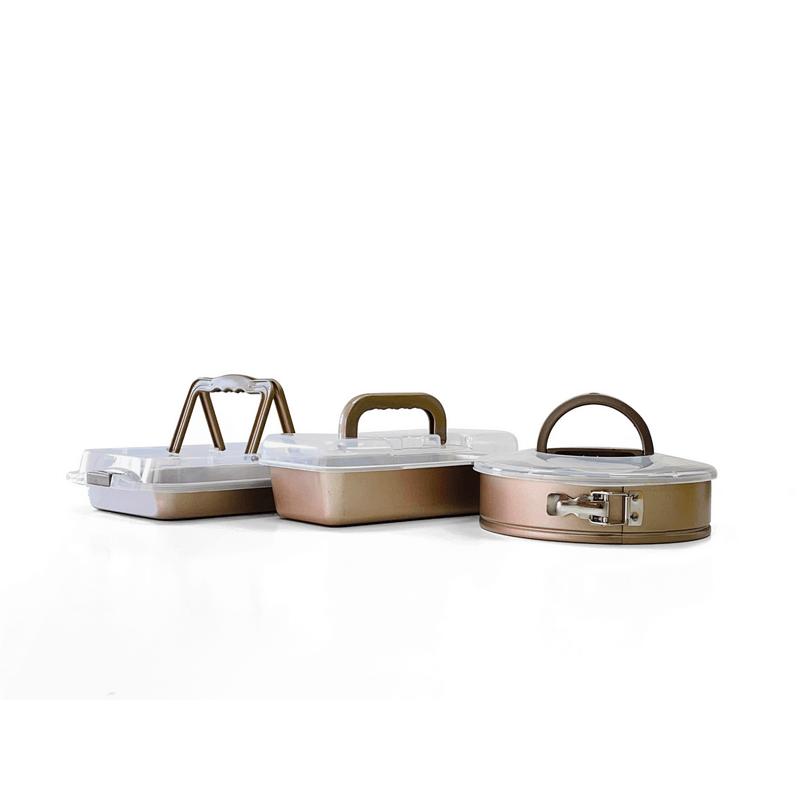 סט 3 תבניות עם מכסים Roso Glaze Bronze